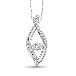 Jewelonfire 1/4ct TDW White Diamond 10k White Gold Leaf Pendant