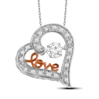 Jewelonfire 10k Two-tone Gold 1/5ct TDW White Diamond Heart Pendant