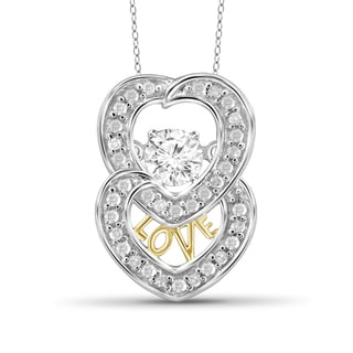 Jewelonfire 10k Two-tone Gold 1/4ct TDW White Diamond Two Hearts Pendant