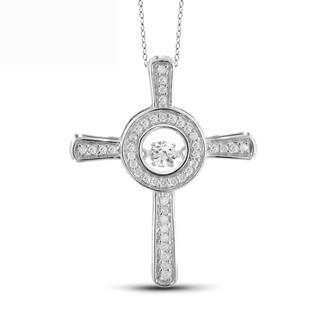 Jewelonfire 10k White Gold 1/4ct TDW White Diamond Cross Pendant