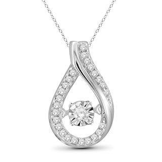 Jewelonfire 10k White Gold 1/5ct TDW White Diamond Teardrop Pendant