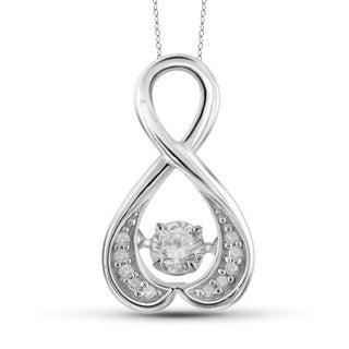 Jewelonfire 10k White Gold 1/4ct TDW White Diamond Infinity Pendant