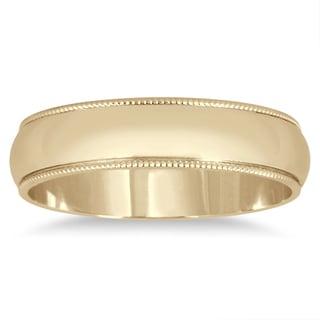 Marquee Jewels 14k Yellow Gold 4-millimeter Milgrain Edge Comfort-fit Wedding Band