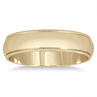 Marquee Jewels 14k Yellow Gold 4-millimeter Milgrain Edge Comfort-fit Wedding Band|https://ak1.ostkcdn.com/images/products/11968433/P18852640.jpg?impolicy=medium