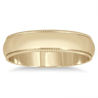 Marquee Jewels 14k Yellow Gold 4-millimeter Milgrain Edge Comfort-fit Wedding Band (More options available)