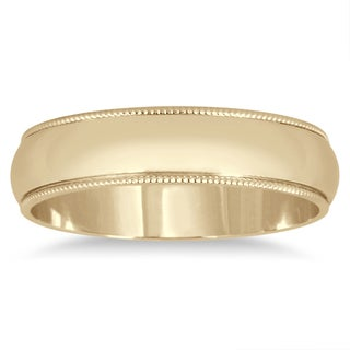 Marquee Jewels 14k Yellow Gold 4-millimeter Milgrain Edge Comfort-fit Wedding Band