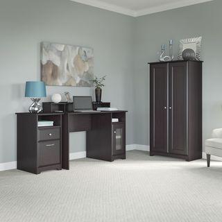 Cabot Computer Desk, 2 Drawer Cabinet and Storage Cabinet in Oak