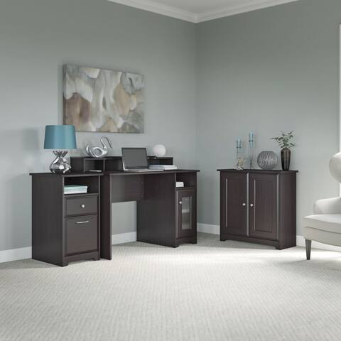 Copper Grove Daintree Computer Desk, Low Storage Cabinet with Doors and Cabinet in Oak
