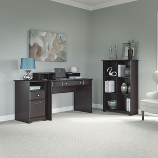 Cabot Collection 48W Writing Desk, with 2-drawer Pedestal, and 6-cube Storage
