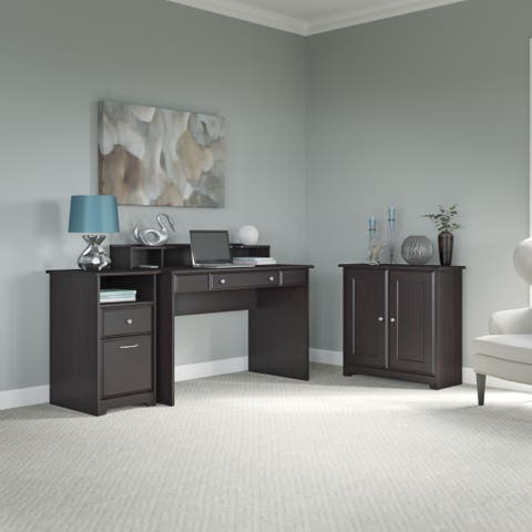 Copper Grove Daintree Espresso Oak Writing Desk, Low Storage Cabinet with Doors and 2-drawer File Cabinet