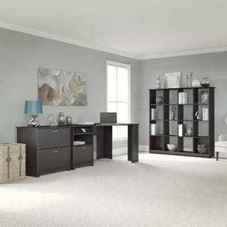 Cabot Collection 60W Corner Desk, 16-cube Bookcase and Lateral File