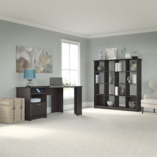 Cabot Collection 60W Corner Desk, and 16-cube Bookcase