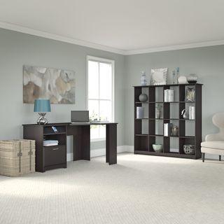 Cabot Espresso Oak Corner Desk and 16 Cube Bookcase
