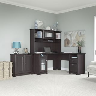 Cabot Collection 60W L Desk, Hutch, and 2-door Low Storage
