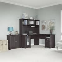 Cabot L-shapedEspresso Oak Desk, Hutch, and Low Storage Cabinet with Doors