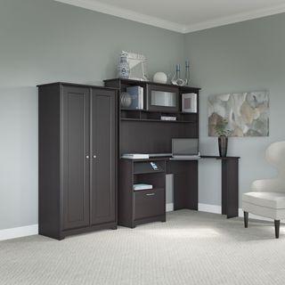Cabot Espresso Oak Corner Desk, Hutch, and Tall Storage Cabinet with Doors