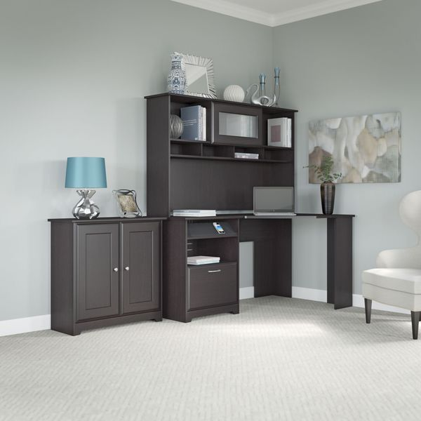 shop cabot espresso oak corner desk hutch and low storage cabinet with doors free shipping. Black Bedroom Furniture Sets. Home Design Ideas