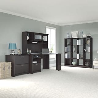Cabot Espresso Oak Corner Desk, Hutch, 16 Cube Bookcase, and Lateral File Cabinet