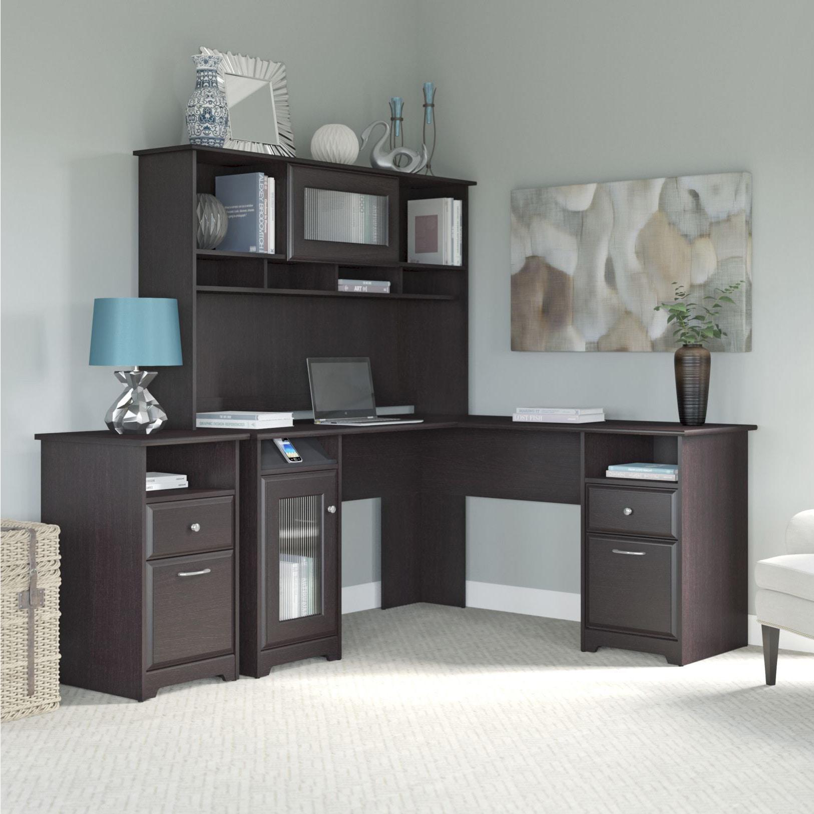 Copper Grove Daintree Espresso Oak L Shaped Desk Hutch And 2 Drawer File Cabinet