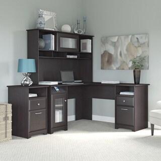 Cabot Espresso Oak L-shaped Desk, Hutch, and 2-drawer File Cabinet