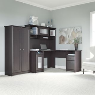 Cabot Espresso Oak L-shaped Desk, Hutch, and Tall Storage Cabinet with Doors