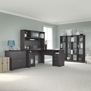 Cabot L-shapedEspresso Oak Desk, Hutch, 16 Cube Bookcase, and Lateral File Cabinet