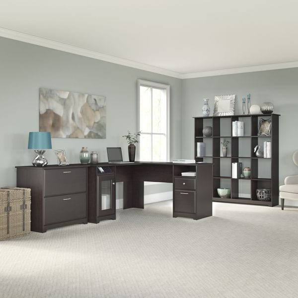 Cabot L-shapedEspresso Oak Desk, 16 Cube Bookcase and Lateral File Cabinet
