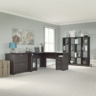 Cabot Collection 60W L Desk, 16-cube Bookcase, and Lateral File