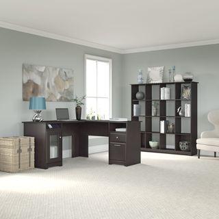 Cabot L-shapedEspresso Oak Desk and 16 Cube Bookcase