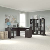 Cabot L-shapedEspresso Oak Desk and 16 Cube Bookcase