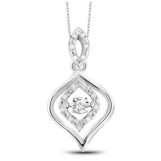 Jewelonfire Sterling Silver 1/10ct TDW White Diamond Pendant