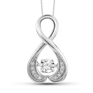 Jewelonfire Sterling Silver 1/10ct TDW White Diamond Infinity Pendant