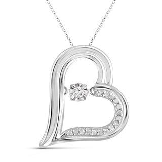Jewelonfire Sterling Silver 1 10ct TDW White Diamond Heart Pendant