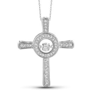 Jewelonfire 1/10ct TDW White Diamond Cross Pendant