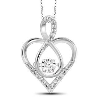 Jewelonfire Sterling Silver White Diamond Accent Infinity Heart Pendant