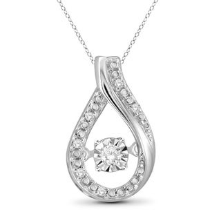 Jewelonfire Sterling Silver White Diamond Accent Teardrop Pendant