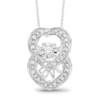Jewelonfire Sterling Silver 1/10ct TDW White Diamond Two Hearts Pendant