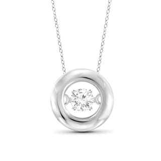 Jewelonfire 1/10ct TDW White Diamond Circle Pendant