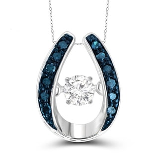 Jewelonfire Sterling Silver 1/6ct TDW Blue and White Diamond Pendant