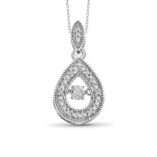 Jewelonfire Sterling Silver 1/10ct TDW White Diamond Tear-Drop Pendant