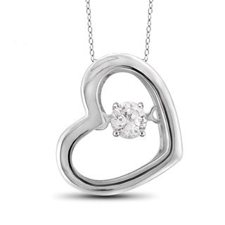 Jewelonfire Sterling Silver 1/10ct TDW White Diamond Heart Pendant