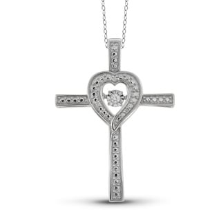 Jewelonfire Sterling Silver White Diamond Accent Cross Pendant