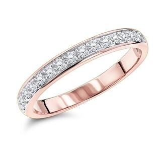 Luxurman 14k Gold 1/3ct TDW Thin Diamond Wedding Band (G-H, SI1-SI2)