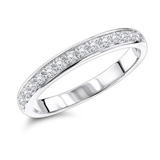 Luxurman 14k Gold 1/3ct TDW Thin Diamond Wedding Band