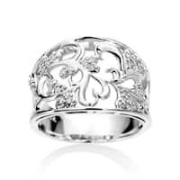 SummerRose 14k White Gold 1/6ct TDW Wide Vintage Filigree Diamond Ring