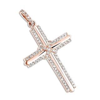 Luxurman 14k Gold 1/3ct TDW Diamond Designer Cross Pendant (G-H, SI1-SI2)