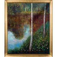 Gustav Klimt 'Landscape with Birch Trees' Hand Painted Framed Canvas Art