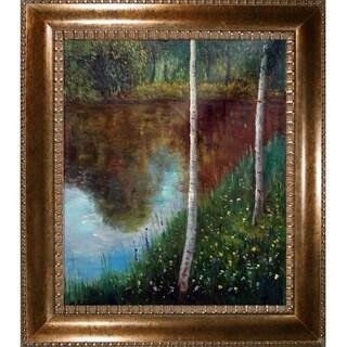 Gustav Klimt 'Landscape with Birch Trees' Hand Painted Framed Canvas Art