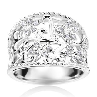 Andrew Charles 14k White Gold 1/6ct TDW Filgree Diamond Ring