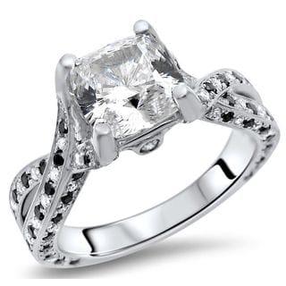 Noori 14k White Gold 2 1/5 Carat TGW Cushion Moissanite Black Diamond Engagement Ring